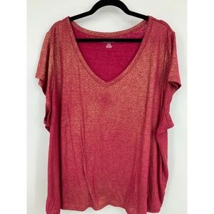 Lane Bryant top 26/28 linen blend red gold party